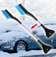 kar temizleme kazıyıcılar toptan satış-2in1 Kar Temizleme Kürek Buz Kazıyıcı Teleskopik Kar Süpürge Fırça Araba Kürek Kolu Kolu Uzanan LJJO4275