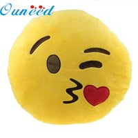 Wholesale Round Throw Pillows - 2017 comfortable piilow Car Home Office Accessory Emoji Smiley Throwing Kiss Cushion Pillow Toy Gift #0725 B