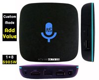 Wholesale Control Movies - 10pcs Custom Made ATV-W 1gb 8gb S905W 4K Google Voice Control Smart Android TV box Leanback 1500+ IPTV live channel Millions movies TV shows