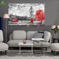 Wholesale poster printing london - JHLJIAJUN Canvas Painting Classical London Red Tree Nordic Black White Modular Wall Art Print And Poster Living Room Home Decor
