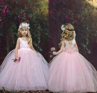 Wholesale tiered tulle dresses for little girls resale online - New Cute Ball Gown Pink Flower Girls Dresses Lace Hand Made Flower Floor Length Tulle Tiers Wedding Dresses For Little Girls