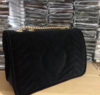Wholesale leather bag italian - 2018 Marmont velvet bag handbags famous shoulder bag leather chain Messenger bag winter fashion handbags Italian luxury handbags