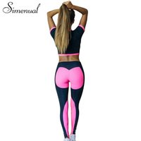 2148470db713 Simenual 2018 Summer two piece set tracksuit for women fitness patchwork crop  top heart leggings sportswear bodybuilding suits. 34% Off