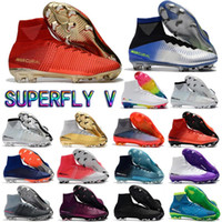 Wholesale free mercurial superfly online - Men Mercurial Superfly V CR7 FG Football Boots Neymar JR ACC Soccer Shoes Cristiano Ronaldo High Ankle Outdoor Soccer Cleats