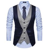 новые костюмы для мужчин оптовых-Fake Two Pieces Men Suit Vest Chaleco Hombre 2017  New Men Waistcoat Gilet Homme Costume Casual Slim Fit Mens Classic Vest