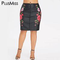 falda lápiz de cuero talla grande al por mayor-PlusMiss Plus Size Floral Bordado PU Lápiz de cuero Falda Mujeres Bordado de cintura alta Faux Negro Faldas de longitud de la rodilla Mujer
