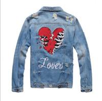 ingrosso jean moto giacca-Commercio all'ingrosso Nuova moto Lettera stampa giacca di jeans designer di alta moda famoso bomber Denim Slim giacca a vento Mens abbigliamento jean