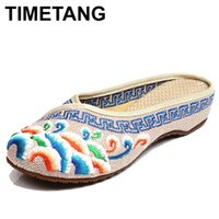 919c1977e TIMETANG Handmade Flower Embroidery Slippers Summer Fashion Women Chinese  Style Casual Shoes Woman Breathable Flip Flops E183