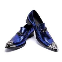 düğün ayakkabıları kulübü toptan satış-Yeni erkek mavi hakiki deri kariyer iş ayakkabıları moda loafer'lar metal sivri burun düğün ayakkabı erkekler club bar parti ayakkab ...