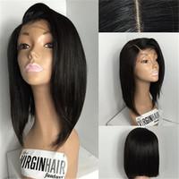 malezya saç perukları işlenmemiş toptan satış-Malezya Bakire İnsan Saç Tam Dantel Peruk Orta Yan Kısmı Dantel Ön Perulu Peruk Bebek Saç Işlenmemiş Remy Saç Ile Uzun Bob Peruk