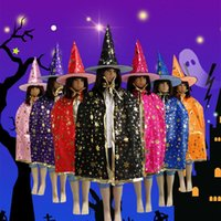 Wholesale wizard cap - 9 colors Halloween Star Cape + Mask 2 PCS Kids Capes Party Costumes Witch Wizards Cape Gilding Girl Boy Cartoon Cosplay MMA368