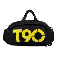 ingrosso borsa da palestra-Borse sportive da palestra impermeabile Borse da viaggio bolsa da viaggio / bagaglio T90 Uomo Donna Zaini fitness fitness multifunzionale