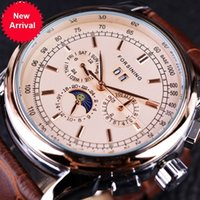 Wholesale Moon Cases - Forsining Moon Phase Shanghai Movement Rose Gold Case Brown Genuine Leather Strap Mens Watches Top Brand Luxury Auotmatic Watch