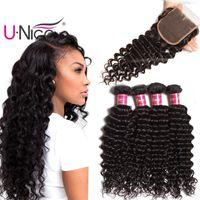 Wholesale brazilian hair bulk for sale - UNice Hair Virgin Brazilian Deep Wave Bundles With Closure Free Part Human Hair Extensions Deep Curl Weaves Bundles With Lace Closure Bulk