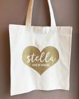 ingrosso sacchetti di tote di tela di scintillio-personalizza borse da sposa con cuori glitter, borse della spesa Maid of Honor, borse di tela damigelle d'onore, regali di compleanno borse di stoffa