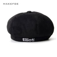 шляпа черных художников оптовых-2018 NEW  beret Hat Winter Hats For Women Men Painter Newsboy Cap Mens Vintage Beret Female Black Boinas England Style Hat