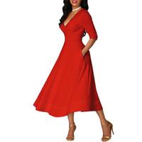 vestidos casuales de negocios para mujeres. al por mayor-Vintage elegante Patchwork Vestidos A-Line OL Business Casual vestido de las mujeres del partido vestido de vestido causal llamarada 2018