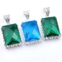 Wholesale china blue topaz - luckyshienMix 3PCS 925 Sterling Silver Wholesale Wedding Gift Classic Fire Green Quartz Blue Topaz Pendants for Necklaces Party Holiday Gift