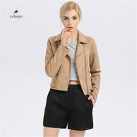 благородные куртки оптовых-autumn women's leather short jacket,khaki fashion female suede jackets,noble style  leather outwear,woman casual short coat