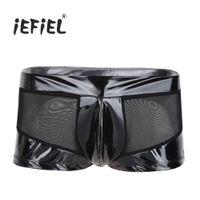 iç çamaşırı aracılığıyla toptan satış-Siyah Mens Lingerie Parlak Rugan Mesh See-through Splice Bulge Kılıfı Boxer Şort Wetlook İç Çamaşırı Külot