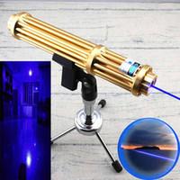 caneta laser militar venda por atacado-New Style Aparência de Ouro de Alta Potência GBE3-II-A Feixe Visível Militar 450nm Única Filial de Foco Ajustável Azul Caneta Laser Pointer 5 Estrelas Caps