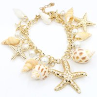 Wholesale african amethyst beads - New Fashion Gold Tidal Marine Shells Starfish Bohemian Charm Bracelet For Women Jewelry