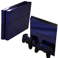 chromsteuerungen großhandel-Blauer glänzender Vinyl-PVC-Haut-Chrom galvanischer Aufkleber für Sony PS4 PlayStation4-Konsole und 2 Controller