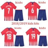 Wholesale girls red shirts - 2018 2019 kids home jerseys boys KOKE GODIN F.TORRES CARRASCO 18 19 CORREA GRIEZMANN GABI THOMAS DIEGO COSTA young girls football shirt