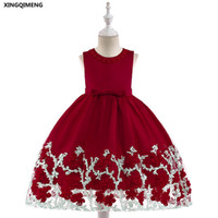 niña de flores rojas vestido de tul arco al por mayor-En stock Vino Vestido de niña de las flores rojas Apliques 3-10Y Vestido formal de fiesta de boda para niñas Big Bow Pageant Tulle vestido de bola