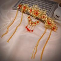 coronas de strass chino al por mayor-JaneVini tocados Tiara estilo chino coronas antiguas Crystal Rhinestone diademas joyería nupcial de la boda accesorios para el cabello desfile de la vendimia