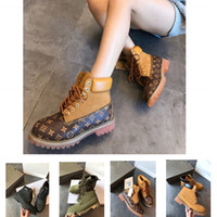 botas premium al por mayor-(CON CAJA) Mejor calidad Premium botas de invierno de goma Hombres Mujeres Botín de cuero Básico Contraste Collar impermeable arranque tamaño 35-45