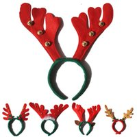 ingrosso fascia dei capelli della fascia tessuta-Decorazioni natalizie Natale Antler fasce per capelli rosso non tessuto festa feste festa di compleanno forniture