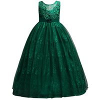 Wholesale Handmade Girls Christmas Clothes - Ivory Dark Green Pink Baby Girl Dress 2018 Lace Applique Tulle Handmade Dresses for Kids Clothing Baby Girl Flower Girls MC1699