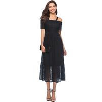 cortos vestidos semi formales negros al por mayor-Loveying dulce vestido de encaje fuera del hombro negro manga corta elástica cintura semi formal fiesta de noche vestidos de mujer vestidos 2018