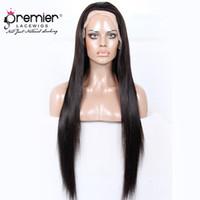 venta de cabello humano yaki al por mayor-Premier Hot Sales 360 Lace Frontal Pelucas 4.5 pulgadas Deep Parting Brasileño Virgin Hair Seda Yaki Recta 150% Densidad Humano Lace Wigs
