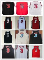 Wholesale dwyane wade shirt - Men Stitched City Dwayne Wade Jersey New Black white red 3 Dwyane Wade Basketball Jersey 3 Dwayne Wade Vintage Basketball Shirt