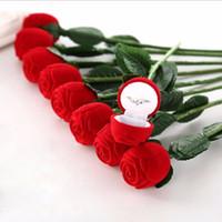 kız zili kapak toptan satış-Kızlar Hediye Charm Kırmızı Gül Çiçek Yüzük Kutusu Parti Düğün Küpe Kolye Takı Hediye Durumda Ekran Paketi Kutuları