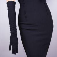 guantes blancos largos y calientes al por mayor-Guantes de Cachemira Mujer Lana Negro 50 cm Largo Estilo Codo Exquisito Elástico Retro Vestido de Mujer Mitones TB26-4