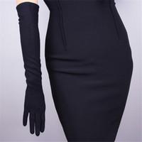 black elbow gloves al por mayor-Guantes de Cachemira Mujer Lana Negro 50 cm Largo Estilo Codo Exquisito Elástico Retro Vestido de Mujer Mitones TB26-4