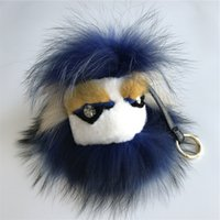 "Wholesale mink car - 8"" Real Fur Monster navy blue FurYellow mink eyebrow Bug bag Charm Ball Pom pom Keychain Keychain Backpack Tassels Pendant Handbag"