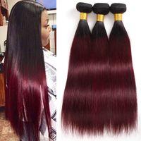 şarap kırmızı ombre saç toptan satış-Brezilyalı Ombre Saç 1B / 99J Düz 3 Demetleri Işlenmemiş Sınıf 8A Bordo Şarap Kırmızı Ombre İnsan Saç Örgüleri Uzantıları Uzunluğu 10-24 Inç
