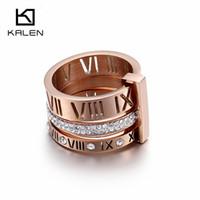 romen rakamları mücevherat toptan satış-Kadınlar Için Rhinestone Yüzükler Paslanmaz Çelik Gül Altın Romen Rakamları Parmak Yüzük Femme Düğün Nişan Yüzükleri Takı