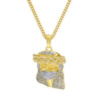 Wholesale jesus gold necklace choker resale online - 5 cm Mask Jesus Piece Pendants Bling Hip Hop Choker Iced Out Mens Chain Gold Chains Designer Jewelry Cuban Links Necklaces