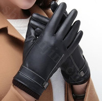Wholesale men leather driving gloves resale online - PU Leather Touch Screen Gloves Men Women Lovers Fleece Linner Full Finger Autumn Winter Outdoor Driving Mittens LJJO5883