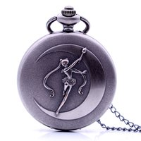watch pendants Australia - Vintage SAILOR MOON Representing The Moon to Destroy You Quartz Pocket Watch Pendant Necklace Chain Mens Womens relogio de bolso