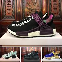 Wholesale Blank Fabrics - (With Box) Black Purple Equality NMD Human Race Runner Boost Runners Respira Holi Nerd Boost Running Shoes Blank Canvas Williams Pharrell