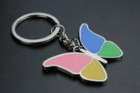 ingrosso portachiavi farfalle-La catena chiave dell'anello chiave della farfalla dell'insetto variopinto svegli la lega in lega di zinco creativa che appende il regalo 3pcs / lot dei keychains dell'automobile di accessorio
