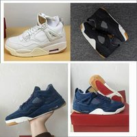 Wholesale jeans shoes boots - 2018 4s denim black white blue Jeans Sports Shoes sneaker shoes boots 4 denim Blue Jeans Basketball Shoes with original box 7-13