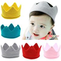 bebek örme taç toptan satış-Sıcak ve güzel tasarım Yün Iplik Sevimli Bebek Erkek Kız Taç Örgü Bandı Hathair aksesuarları şapka tiaras infantil