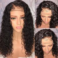 b235ca8d1 Hot vendas barato Afro kinky encaracolado peruca dianteira do laço  sintético resistente ao calor sexy natural cabelo preto mulheres perucas  12-26 polegada ...